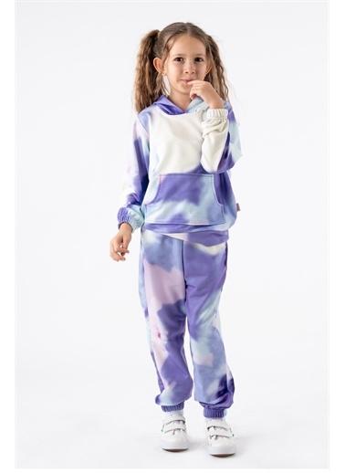 Minik Dolap Kız Çocuk Batik Desenli Kapüşonlu Eşofman Takım Lila Mor